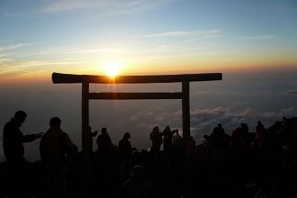 View from the top of Mt. Fuji at sunrise in the Chubu region