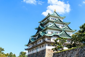 View of Nagoya Castle on a sunny day in the Chubu region
