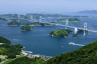 View of the Kurushima-Kaikyō Bridge over the Seto Inland Sea in the Seibu Region