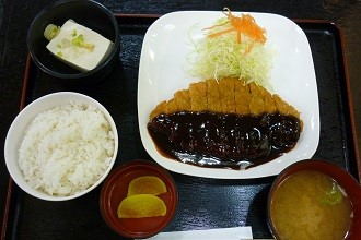 Lunch set of miso katsu teshoku in the Chubu region