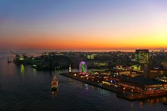 View of Kobe Bay at night in the Kansai region