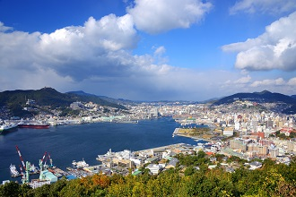 Aerial view of Nagasaki city in the Kyushu region