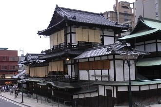 Picture of the outside of Dogo Onsen located in Matsuyama in the Seibu region