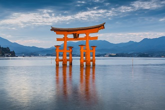 Picture of Itsukushima Shrine located on Miyajima Island in the Seibu region