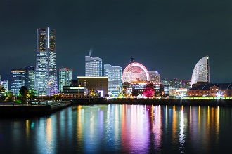 View of Yokohama city at night in the Shutoken region