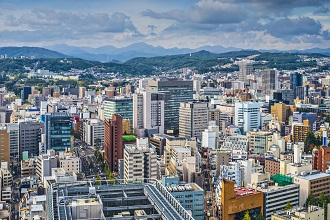 View of Sendai city located in the Tobu region