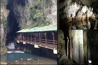 Akiyoshi Cave's Opening and Limestone Inside