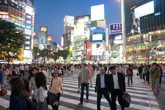 Photo of the famous Shibuya crossing in Tokyo