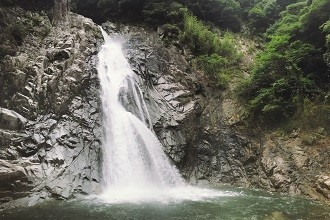 Senri Chuo's Beautiful Waterfall into a River