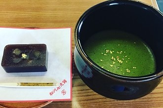 Green matcha tea and desert served at a teahouse